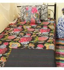 Kantha Quilt - Buy Indian Bedspreads & Bohemian Kantha Quilts at ... & Black Floral Kantha Quilt Adamdwight.com