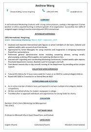 Resume Cv Sample For Graduate Or Management Trainee