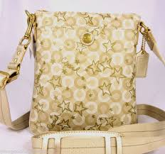 NWT Coach Waverly Star Snow Queen PVC Gold Khaki Swingpack Crossbody 48673