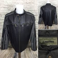 details about machine type field leather jacket zip up black gray biker men size xl mss3