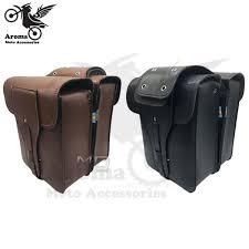 retro cafe brown black leather scooter saddlebag parts motorbike bags tool tail luggage moto saddle bags