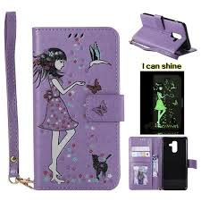 luminous flower girl cat leather wallet case for samsung galaxy j6 2018 sm