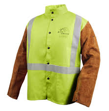 black stallion fr cotton cowhide hybrid welding jacket safety lime jh1012