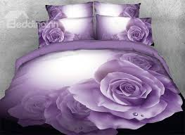 65 onlwe 3d dewy purple roses printed 4 piece bedding sets duvet covers