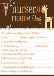 Instant Download Printable Nursery Rhyme Quiz By Jessica91582 Baby Shower Games Nursery Rhymes