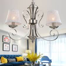 3 light silver iron modern chandelier with fabric shades hkp31269 3