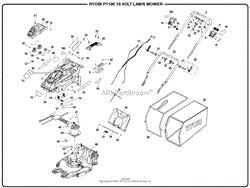 homelite p1100 18 volt lawn mower mfg no 107178001 parts diagram genral assembly part 1