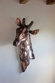 copper giraffe head wall decoration