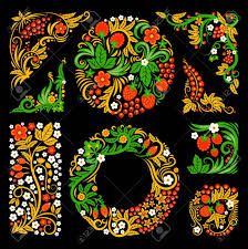 floral decorative elements of traditional russian culture vector  floral decorative elements of traditional russian culture vector design pictures in khokhloma style stock vector