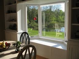 Decorations:Bay Windows Design With Small Curtain Decor White Bay Window  With Backyard View