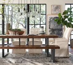 dining table sy reclaimed pine construction iron frame pb fort slipcovered chair and griffin fixed pottery barn kitchen
