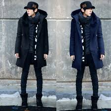 winter men fashion md long slim double ted hooded trench coat warm outwear