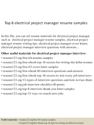 Project Manager Resume Samples Simple Top 40 Electrical Project Manager Resume Samples