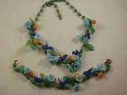 deco era murano glass bluebird flowers fruit necklace and bracelet set