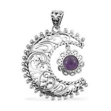 artisan crafted amethyst sterling silver sun and moon pendant without chain tgw 1 35 cts pendants jewelry lc