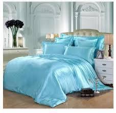 aqua silk bedding set green blue satin
