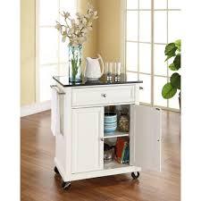 Kitchen Carts With Granite Top Crosley White Kitchen Cart With Black Granite Top Kf30024ewh The