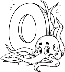 Letter coloring pages o for octopus