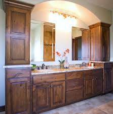 this knotty alder vanity compliments the built in arch
