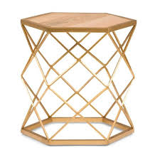 kristy round 20 in wide metal and wood accent accent side table in natural gold