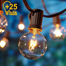 Us 16 49 35 Off Warm White 25 Clear Bulbs G40 Globe String Lights 110 220v Eu Us Plug For Wedding Party Bedroom Outdoor Garden Decoration In