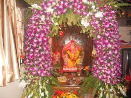 interior design simple decoration themes for ganesh festival at