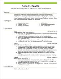 Bistrun Server Job Description Resume Serving Example Creative