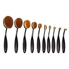 10 picecs makeup brushes set inkerscoop oval foundation contour beauty brushes tool set powder concealer