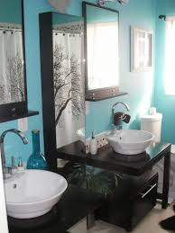 Blue Bathrooms Contemporary White Wall Mounted Shelves Black ...