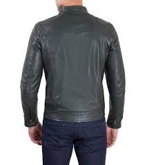 hamilton green vintage style leather jacket four pockets korean collar