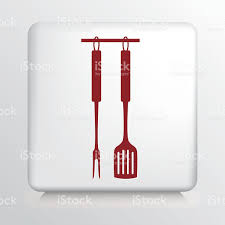kitchen utensils drawing. Square Icon With Red Hanging Kitchen Utensils Silhouette Royalty-free Drawing N