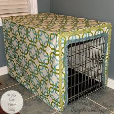 How to make a dog crate Wooden Dog Crate With Whitebluegreen Fabric Cover Enjoy The View How To Make Dog Crate Cover Waverize It enjoy The View