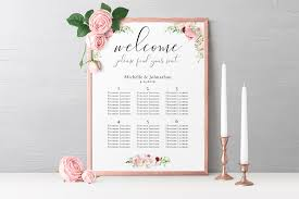 Seating Chart Design Delicate Pink Watercolor Floral Wedding Seating Chart