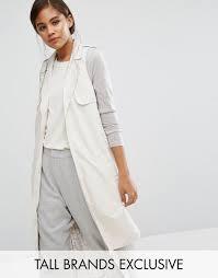 noisy may tall longline sleeveless trench coat cream women coats noisy may mom jeans