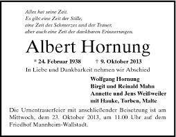 Albert Hornung - Todesanzeigen - Mannheimer Morgen - Trauerportal ...