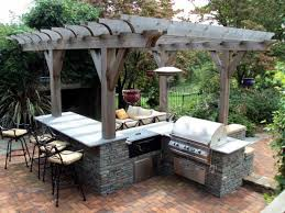 kitchen l shaped outdoor grill white kitchen cabinet with exposed brick backsplash round shade pendant