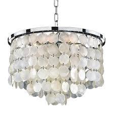 glow lighting bayside 6 light capiz shell and chrome chandelier