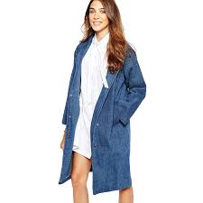 women fashion denim trench coat vintage oversized turn down collar women jean trench coat female windbreaker