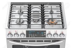 Steel Gas Cooker With Oven Top View Closeup 3D Rendering Stock