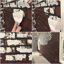 how to diy a white faux brick wall
