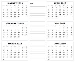 printable 6 month calendar 2019 blank six month 2019 printable calendar 2019 calendars pinterest