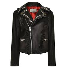 gucci jackets gucci ruffle embellished tiger leather jacket in black