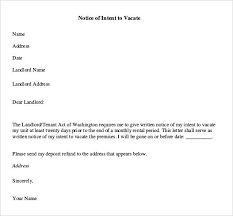 Notice To Vacate Letter Notice Of Intent To Vacate Premises Template By Tenant Sample