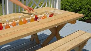Table With Drink Trough Yellawoodr Picnic Table Hack Youtube