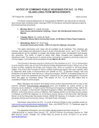 NOTICE OF COMBINED PUBLIC HEARINGS FOR N.C. 12- PEA ISLAND LONG-TERM  IMPROVEMENTS