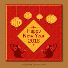 Chinese New Year Card In Golden And Red Color Vector Free Download