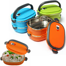 1 2 layer stainless steel insulated bento box lunchbox with handle