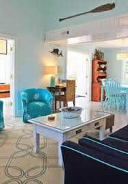 loving the c print chair and beachy accents in this room featured on house of turquoise