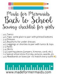 Checklist For School Free Printable Back To School Sewing Checklist For Boys Girls