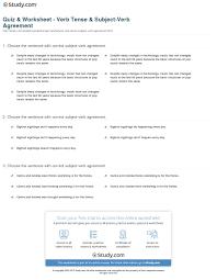 Quiz Worksheet Verb Tense Subject Verb Agreement Study Com